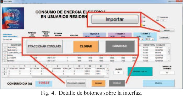 Fig. 4. Detalle de botones sobre la interfaz.