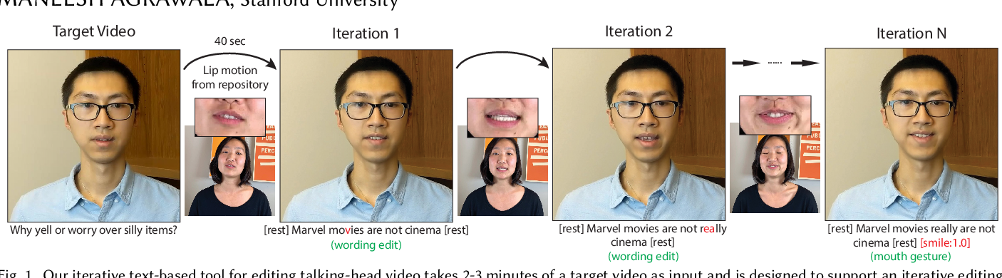 Figure 1 for Iterative Text-based Editing of Talking-heads Using Neural Retargeting