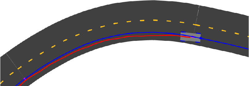 Figure 5.10. The agent navigating the upper left part of the curves scenario at about 29 seconds. The agent undershoots the curve a bit, correcting itself as it enters the straightaway.