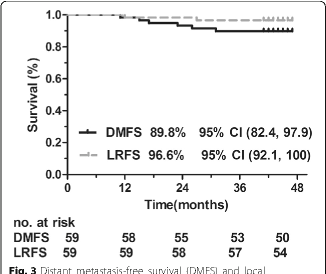 Fig. 3 Distant metastasis-free survival (DMFS) and local recurrence-free survival (LRFS) rates in patients with locally advanced nasopharyngeal carcinoma treated with lobaplatinfluorouracil followed by lobaplatin-radiotherapy