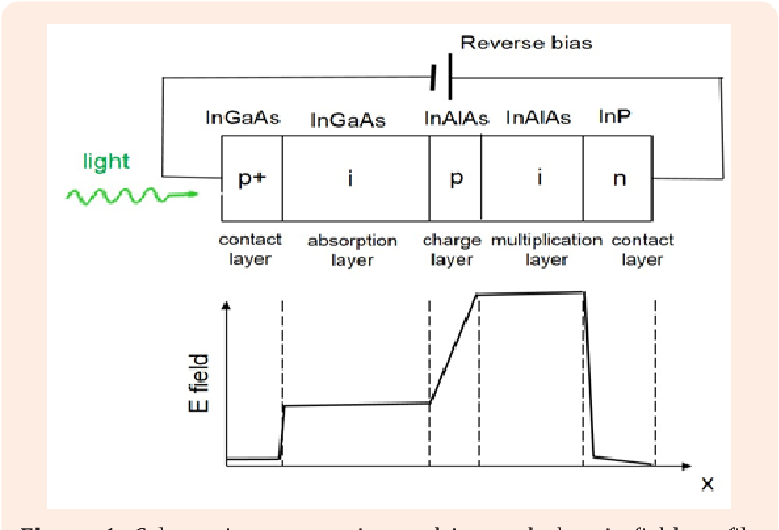 Figure 1: Schematic cross-section and internal electric field profile of the APD structure (not in scale). In the illustration, the InGaAs absorption layer is next to the InAlAs charge control and multiplication layers.