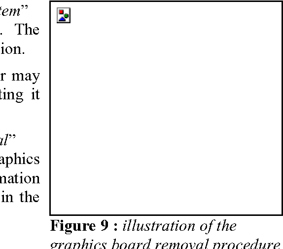 Figure 9 : illustration of the graphics board removal procedure