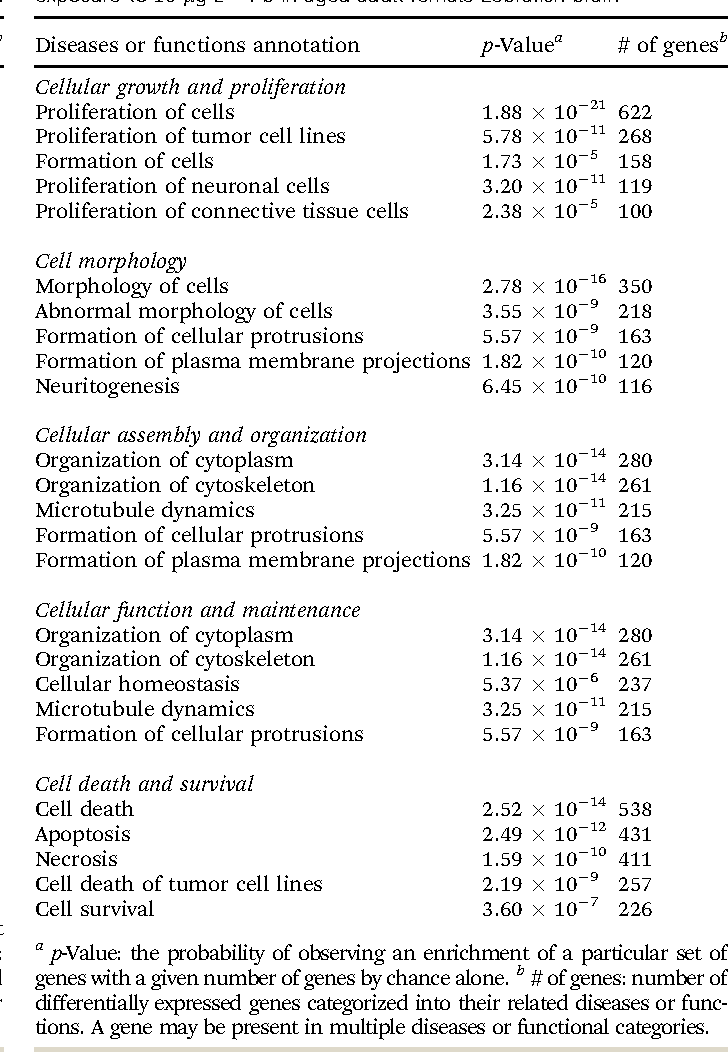 Table 2 from Embryonic exposure to 10 μg L(-1) lead results