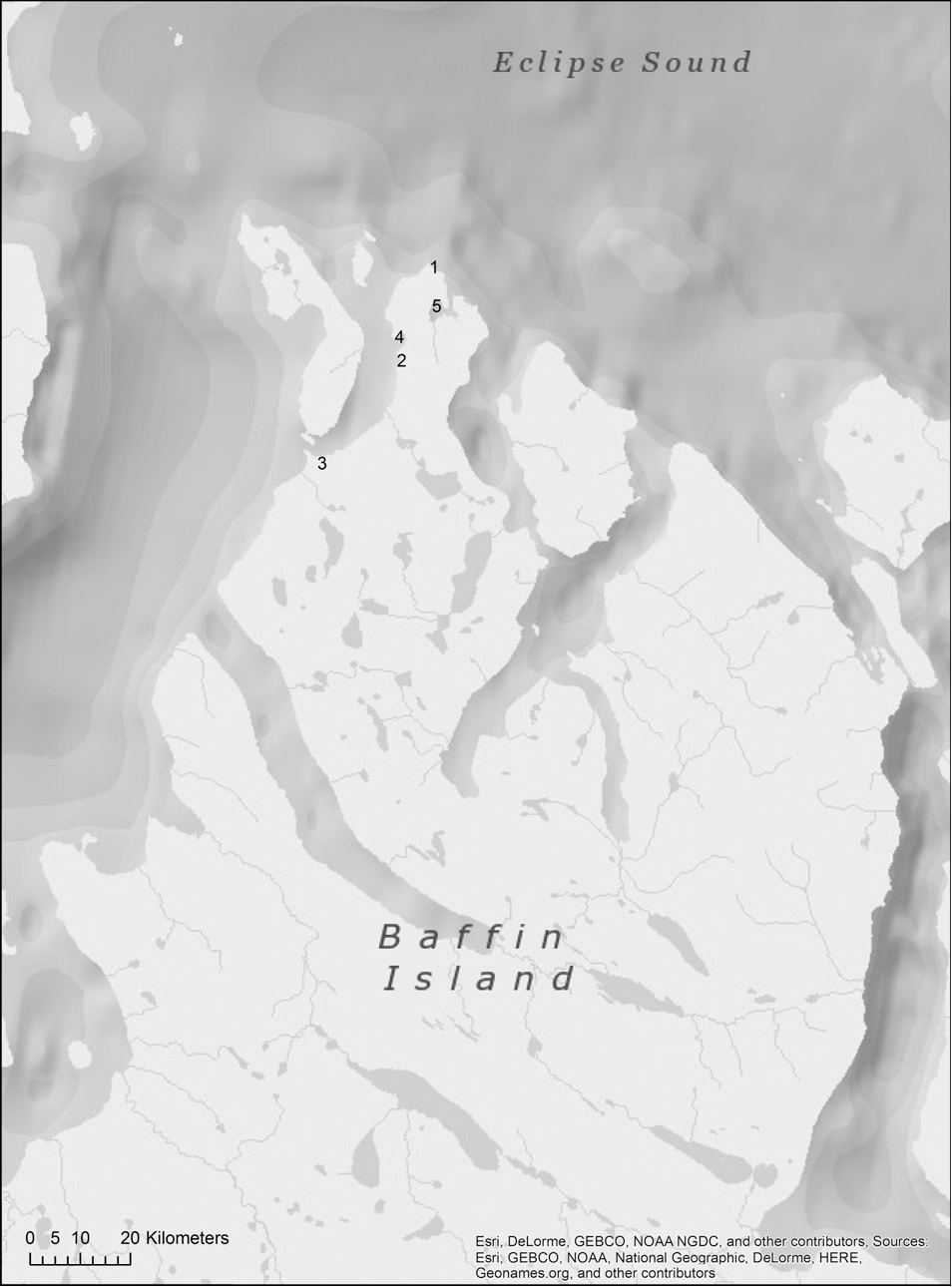 FIG. 1. Study area: (1) Cape Hatt, (2) the outer side of Bay 11/12, (3) the south of Ragged Island, (4) Bay 11/12, (5) Z lagoon.
