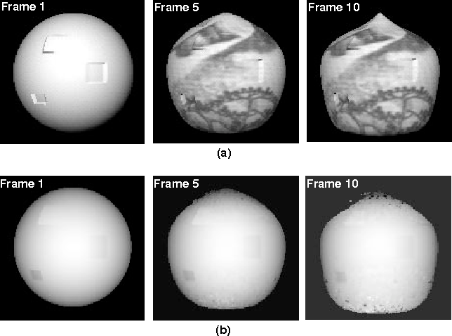 Figure 4: (a): A simulation image sequence generated by Open Inventor (Note that the texture of the rst frame is removed in order to show the arti cial pits and bumps clearly); (b) The estimated dense structure for the sphere.