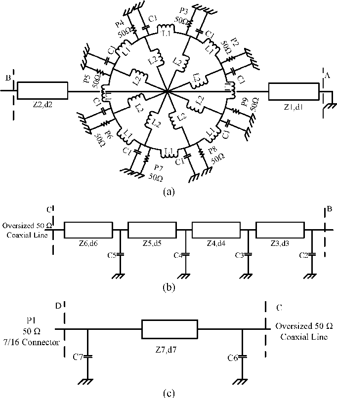 Fig. 2. Presented equivalent circuit model of the combiner. (a) A–B section. (b) B–C section. (c) C–D section.