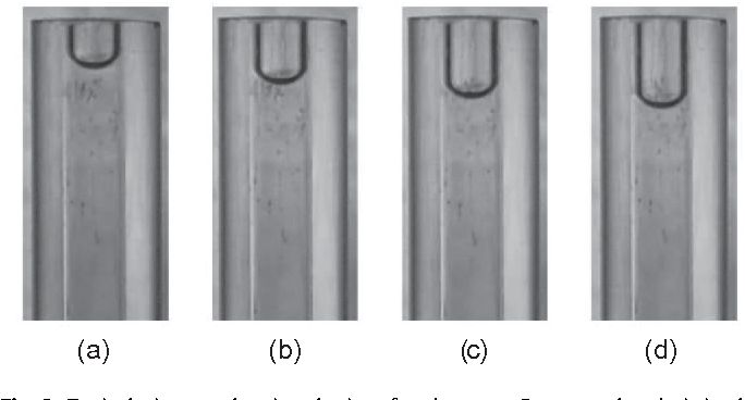 Fig. 3. Typical pictures showing the interface between 2-propanol and air in the capillary tube of diameter 1:6 mm (a–d). The time interval between two successive pictures is 1500 s.