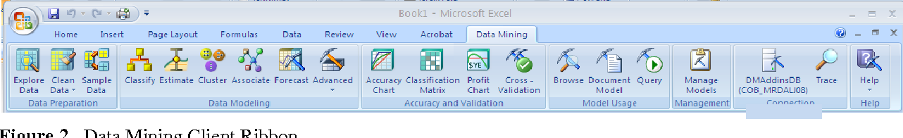 Figure 2. Data Mining Client Ribbon