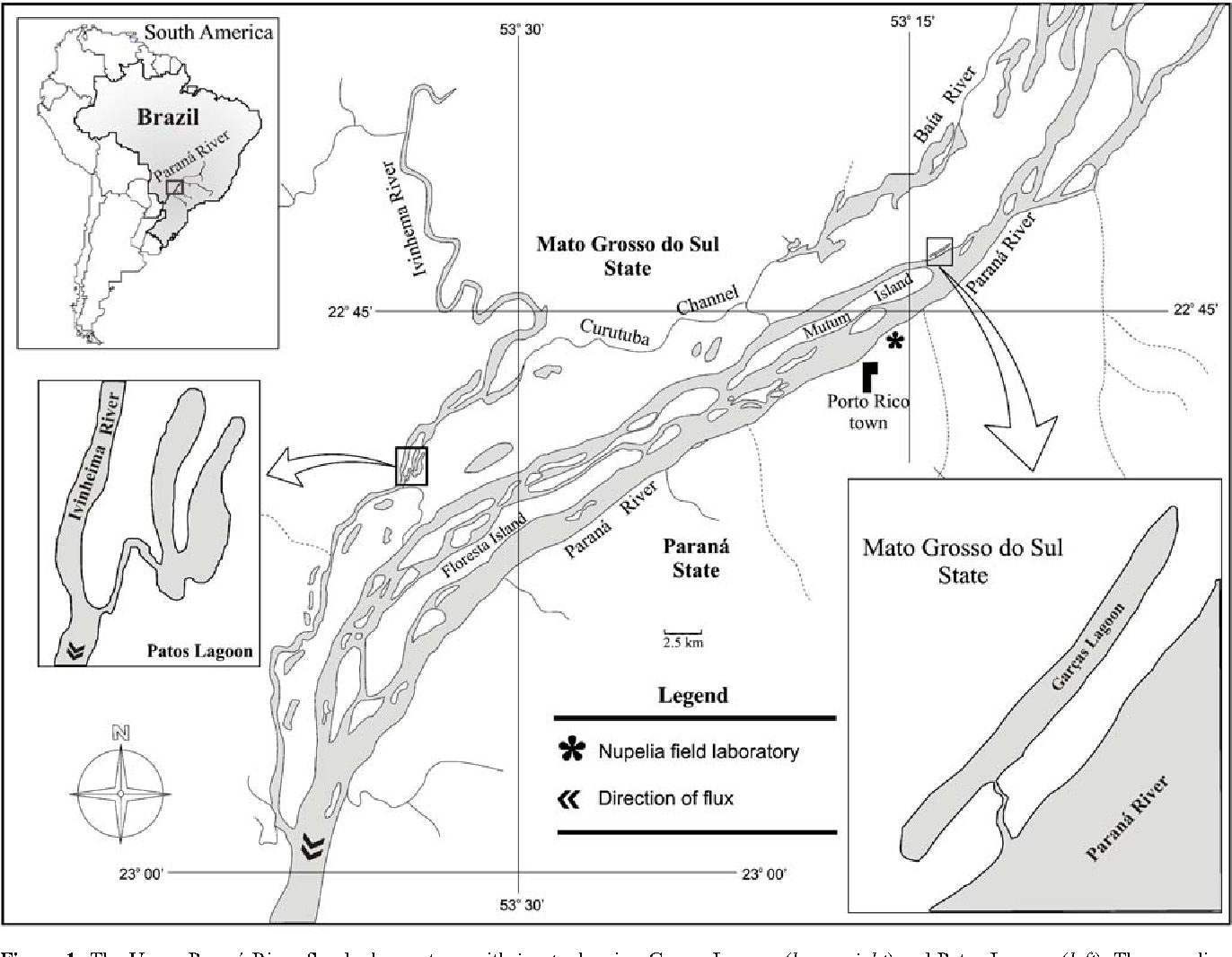 Figure 1 The Upper Paraná River floodpulse system, with insets showing Garças Lagoon (lower right) and Patos Lagoon (left). The sampling locations are shown by the * in each inset