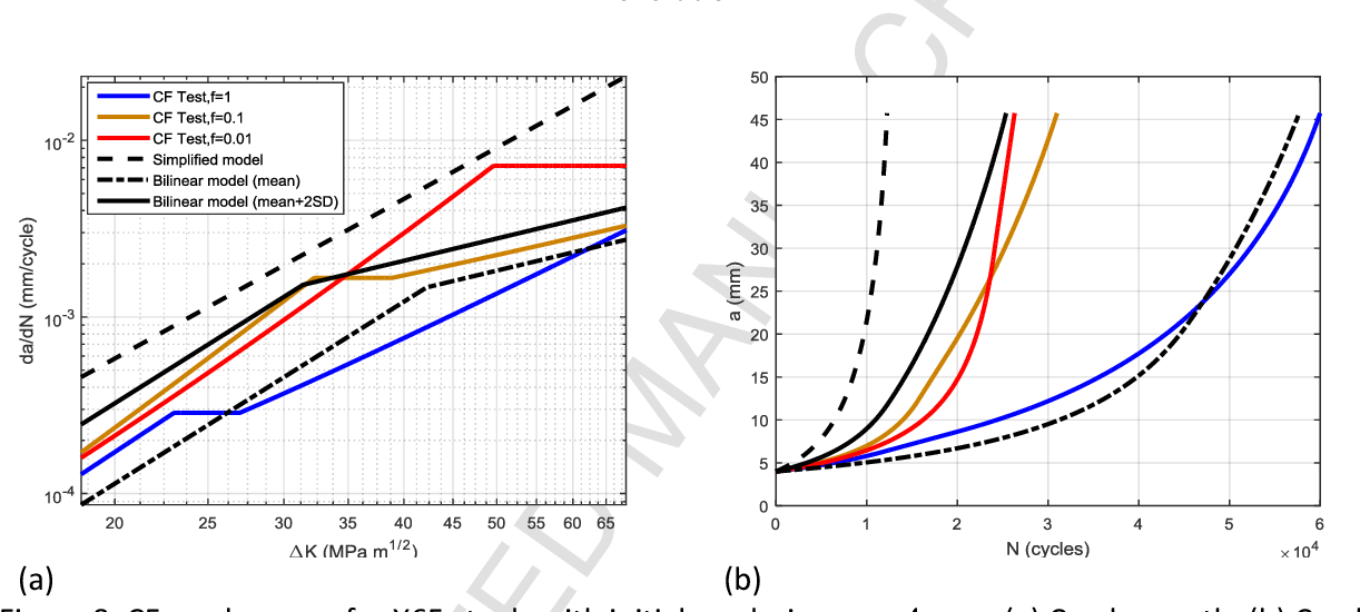 Figure 8. CF crack curves for X65 steels with initial crack size : (a) Crack growth; (b) Crack evolution.