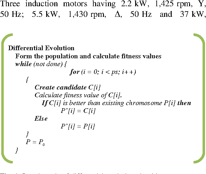 Determination of induction motor parameters with differential