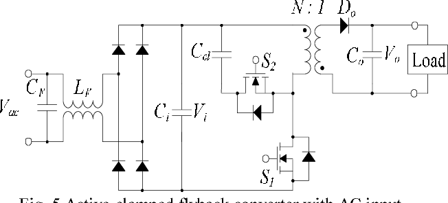 Fig. 5 Active-clamped flyback converter with AC input