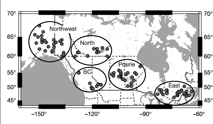 Figure 1 Distribution of the sample localities. Dots, sample localities; dashed lines, province borders; solid line, the Canada–US border. Individual samples (in total 184) were