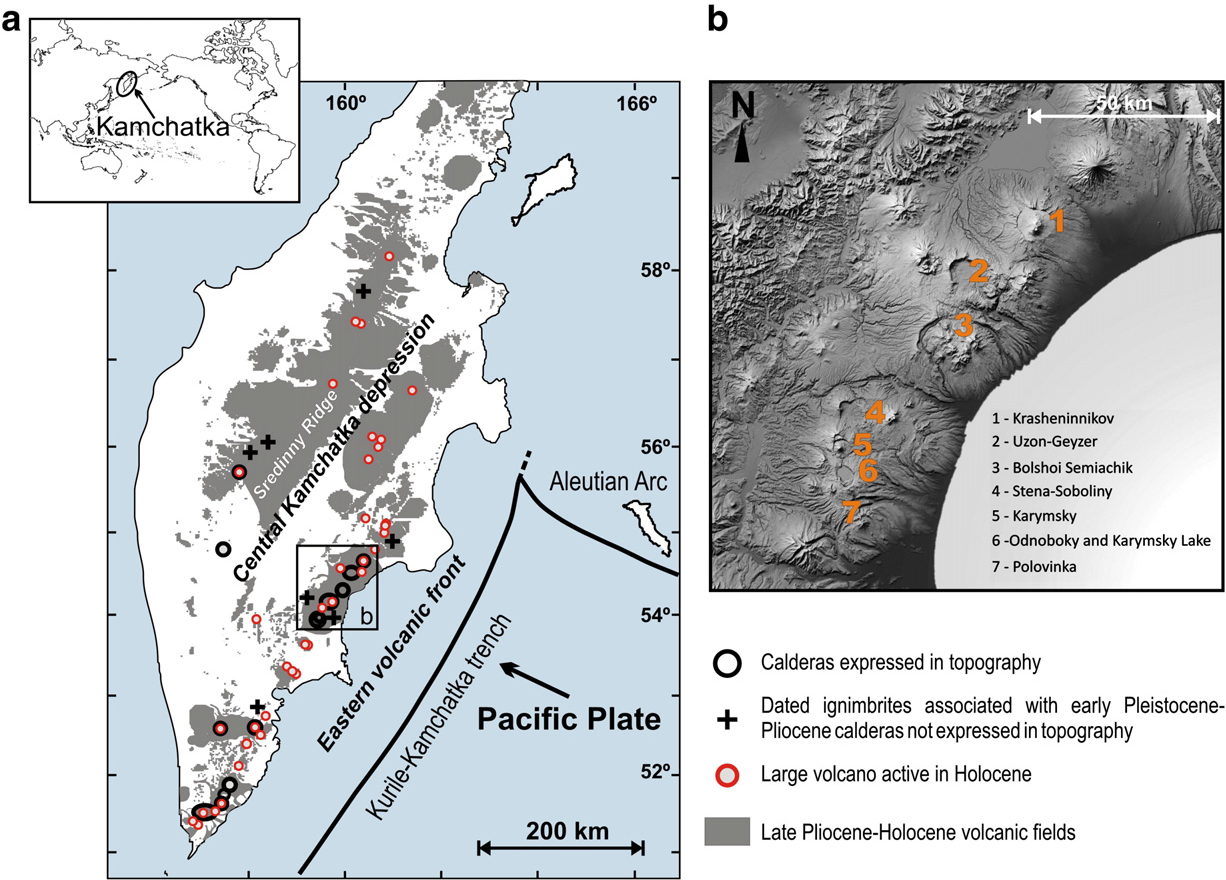 Fig. 1. a) Regional map of Kamchatka Late Pliocene–Holocene volcanic fields, calderas and d (modified from Bindeman et al., 2010) that show overlapping ignimbrite fields and glacial